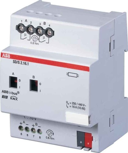 ABB Stotz S&J Schalt/Dimmaktor 2-fach, 16A, REG SD/S2.16.1