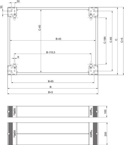 Schneider Electric Sockel 200mm Fronteinbausatz NSYSPF6200