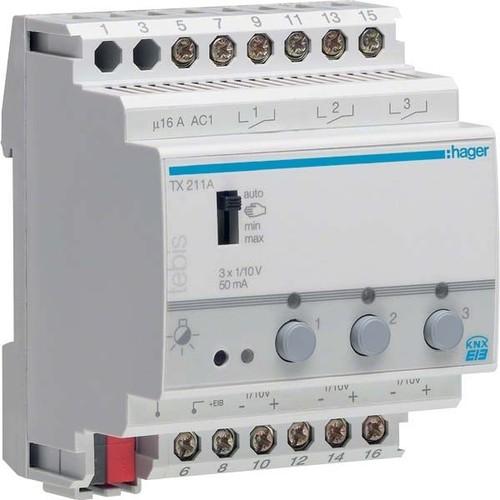Hager Schalt-/Dimmaktor 3-fach ch, 1-10V TX211A