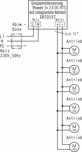 Somfy Gruppen-Funksteuerung Power 1x2,5 DC RTS 1870157