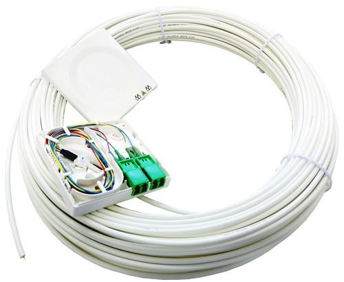 Acome Komponenten FTTH-AP-Dose T1 m. Kabel 30m 1xLCD/APC reinweiß IO114066182302301