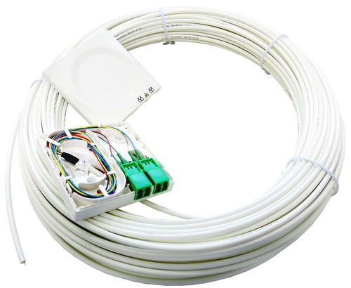 Acome Komponenten FTTH-AP-Dose T1 m. Kabel 30m 2xLCD/APC reinweiß IO1140661823043003