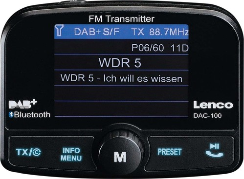 Lenco DAB+ Autoradio-Transmitter BT DAC-100 sw