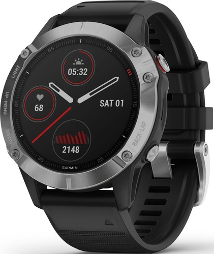Garmin GPS-Multisport-Smartwatch Schwarz/Silber FENIX 6 sw/silber