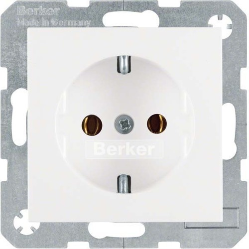 Berker SCHUKO-Steckdose polarweiß glänzend mit Steckklemmen 47438989