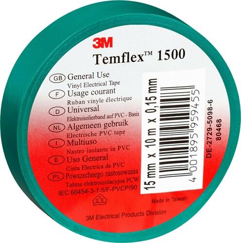 3M Deutschland Elektroisolierband 15mm x10m gn TemFlex 1500 15x10gn