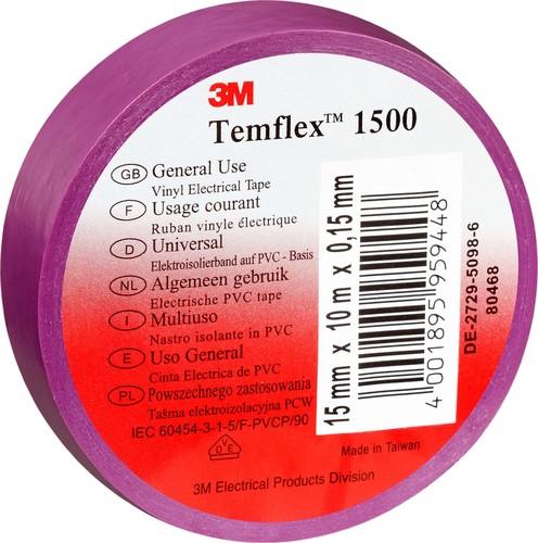 3M Deutschland Vinyl Elektro-Isolierband 15 mm x 10 m,violett TemFlex 1500 15x10vi