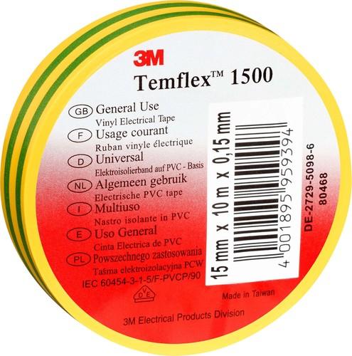 3M Deutschland Vinyl Elektro-Isolierband 15 mm x 25 m,gn-gelb TemFlex 1500 15x25gg