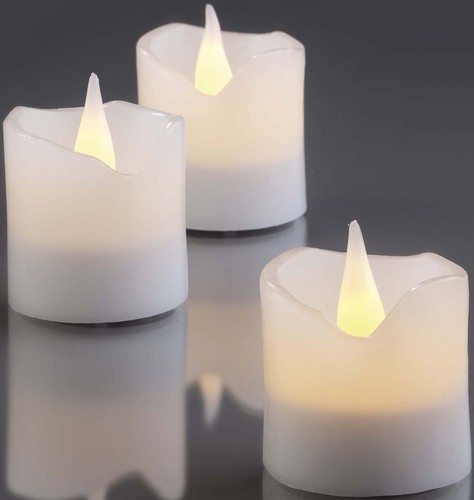 Hellum LED-Wachskerzen H:4,2cm 6er-Set weiß 572100 6-Set
