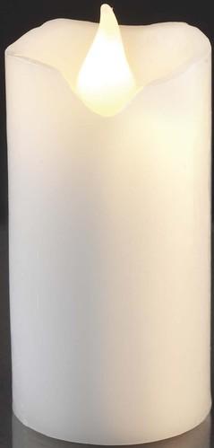 Hellum LED-Wachskerze H:9,5cm weiß batterieb. 572124