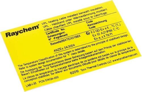 nVent Thermal Kennzeichnungsaufkleber VPL-Heizband,Ex-Ber. LAB-I-35