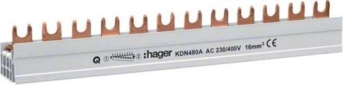Hager Phasenschiene 4p,16qmm,12mod,Gabel KDN480A