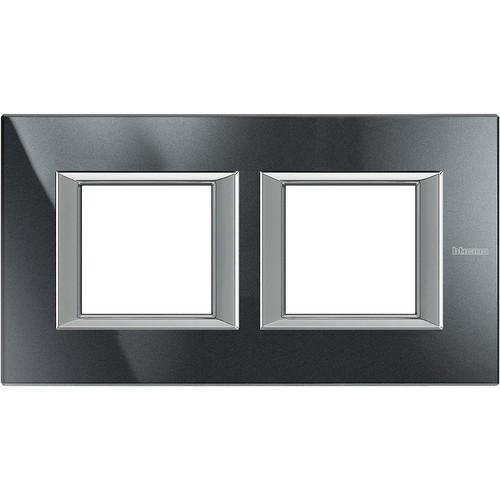 Legrand (SEKO) Axolute Rahmen hor.2-fach aluminium schwarz HA4802M2HHS