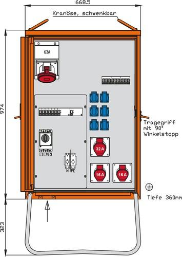 Walther Werke Verteilerschrank 44kVA,2RCDs TypB,9LS WV0369R1