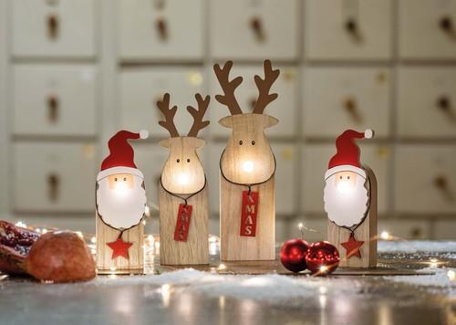 Hellum LED-Holz-Weihnachtsmann batteriebetrieben 524673