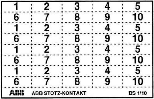ABB Stotz S&J Kennzeichnungsschild mit Beschriftung BS-1/10