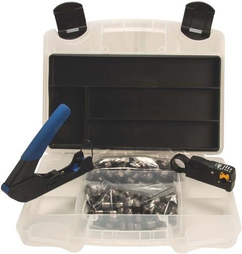 Triax Hirschmann Kompressionsset mit Zange weiß, für KOKA Kompress.Set 6-49 weiß