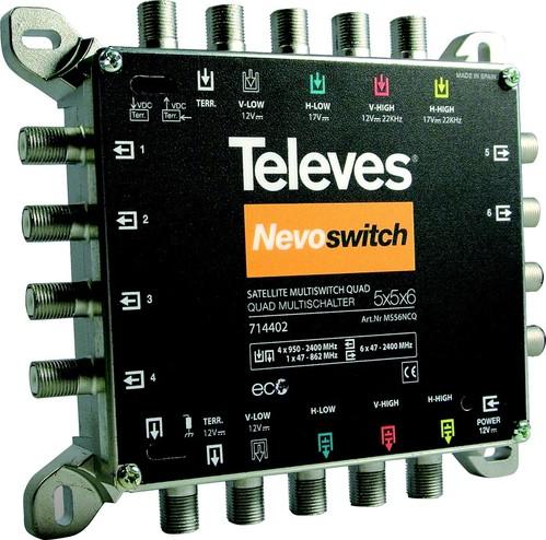 Televes Multischalter 5 in 6 Guß NEVO m.NT quad kask. MS56NCQ
