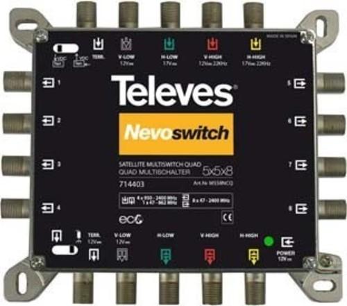 Televes Multischalter 5 in 8 Guß NEVO m.NT quad kask. MS58NCQ
