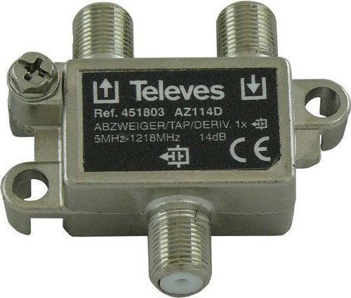 Televes Abzweiger 1-fach 14dB, 5-1218MHz AZ114D