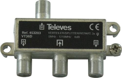 Televes Verteiler 3-fach 6dB, 5-1218MHz VT36D