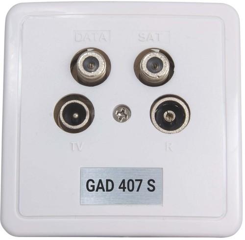 Triax Hirschmann Antennensteckdose 4-Loch Stichdose weiß GAD 407 S