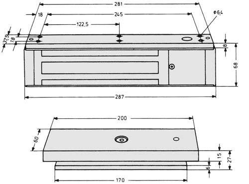 Assa Abloy effeff Flächenhaftmagnet kpl.mit Gegenplatte 828-44