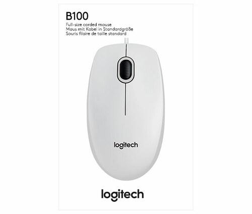 Logitech Maus Optisch,Business LOGITECH B100 USB weiß