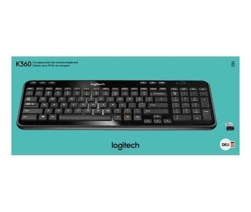 Logitech Tastatur Wireless DE, Retail LOGITECH K360 sw