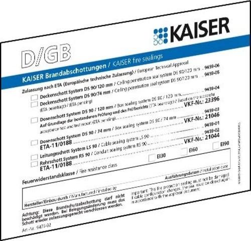 Kaiser Schott-Kennzeichnungssch. DE/GB/FR/IT 9473-91
