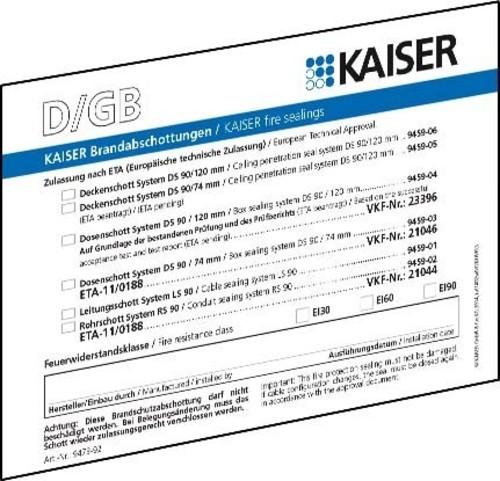 Kaiser Schott-Kennzeichnungssch. DE/GB/FR/NL 9473-92