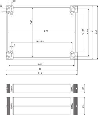 Schneider Electric Sockel 100mm Fronteinbausatz NSYSPF8100