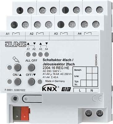 Jung KNX Schalt-/Jalousieaktor REG Gehäuse 4TE 2304.16 REGHE