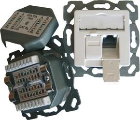 Setec Anschlussdose Kat6A design 2xRJ45,EK-D,hz,rws TN-CAT6A EK50-h-rws