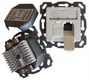 Setec Anschlussdose Kat6A design 2xRJ45,EK-D,vk,pws TN-CAT6A EK50vpws