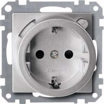 Merten FI-Steckdosen-Einsatz aluminium Schuko BRS 232860