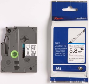Brother Schrumpfschlauchkassette 5,8mm BL 1,5m weiß/sw HSe-211