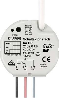 Jung KNX Schaltaktor 2-fach UP mit Nebenst.Anschl. 2132.6 UP