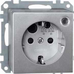 Merten Steckdosen-Einsatz aluminium Schuko mit BRS 500160