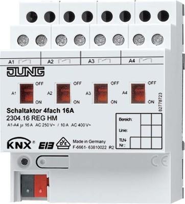 Jung KNX Schaltaktor 4-fach REG Gehäuse 4TE 2304.16 REGHM