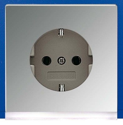 Jung SCHUKO-Steckdose gl.chr 16A 250V weiß LEDLicht GCR 2520-O LEDW