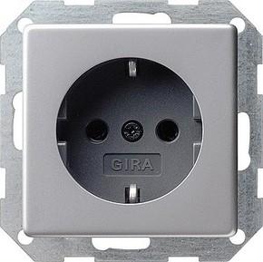 Gira Schuko-Steckdose aluminium m.Kinderschutz 0453203