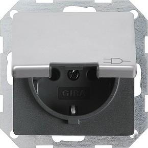 Gira Schuko-Steckdose aluminium m.Klappdeckel 0454203
