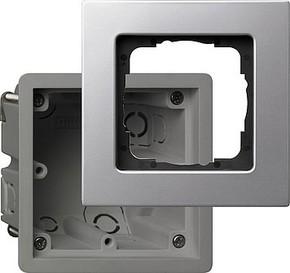 Gira EB-Gerätedose aluminium m.Rahmen 1-fach 2881203