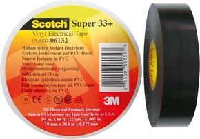 3M Deutschland PVC Elektro-Isolierband 19 mm x 20 m, schwarz ScotchSuper33+ 19x20