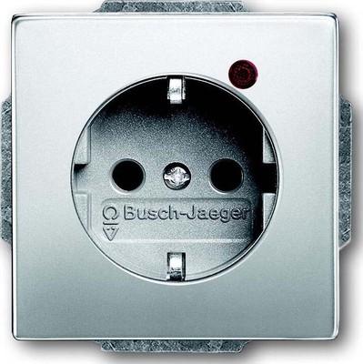 Busch-Jaeger Steckdosen-Einsatz edelstahl Überspannungsschutz 2310EUGL/VA-866-11
