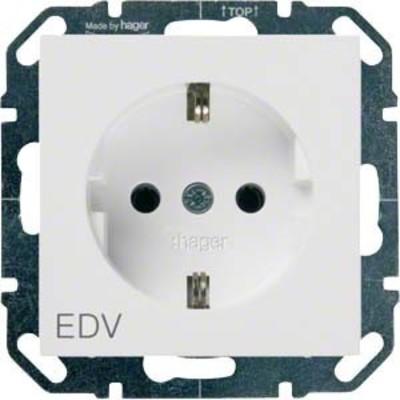 Hager SCHUKO-Steckdose bril/ws mit Aufdruck EDV WYS250