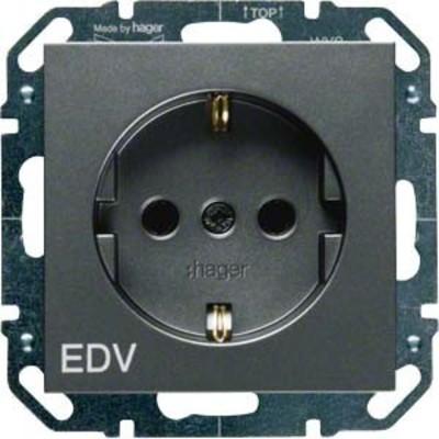Hager SCHUKO-Steckdose anthrazit mit Aufdruck EDV WYS257