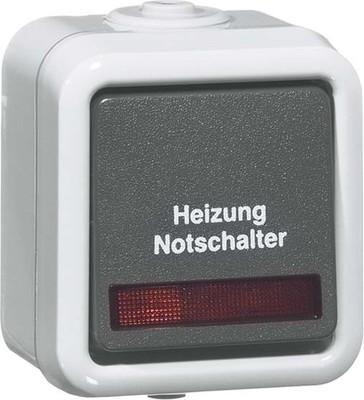 Peha Heizung-Notschalter gr 10A 250V Kontrolll. D 626 WAB HN