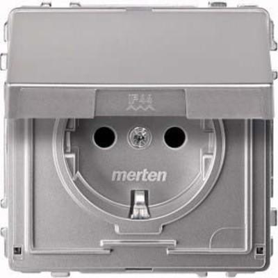 Merten SCHUKO-Steckdose aluminium Klappdeckel MEG2310-7260